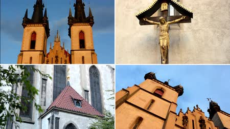 clergyman : PRAGUE, CZECH REPUBLIC - SEPTEMBER 20, 2014: 4K montage (compilation) - religious church and jesus on the cross - crucifix - wall with nature (flowers) and candles Stock Footage