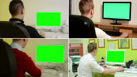 monitor de computador : 4K MONTAGE (4 VIDEOS) - desk computer green screen - people working on computer