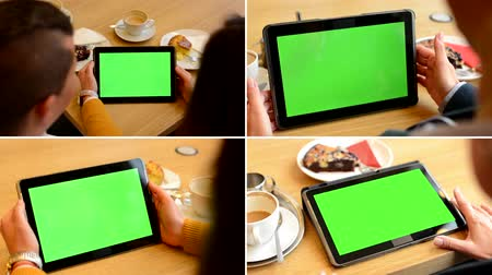 sinais : 4K MONTAGE (4 VIDEOS) - tablet green screen - people work on tablet Vídeos