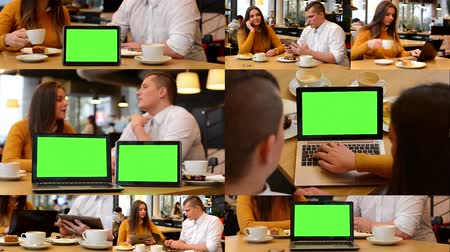 people talking : 4K MONTAGE (8 VIDEOS) - technology devices green screen - notebook and tablet - happy couple talk in cafe and working on devices