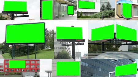 reklama : 4K montage (compilation) - various billboards in the city - green screen - buildings with nature