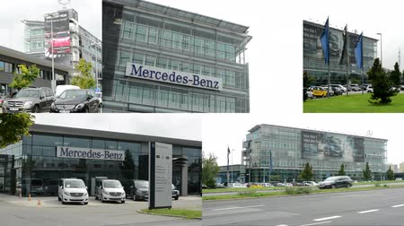 richness : PRAGUE, CZECH REPUBLIC - AUGUST 2014: 4K montage (compilation) - headquarter of Mercedes Benz - part of the building with sign and logos - parked cars - ubran street with cars