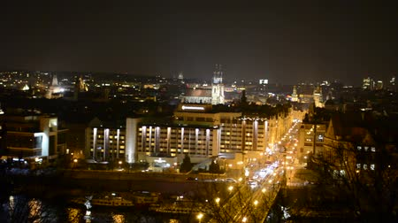 cseh : night city (Prague, Czech Republic) - panorama Stock mozgókép