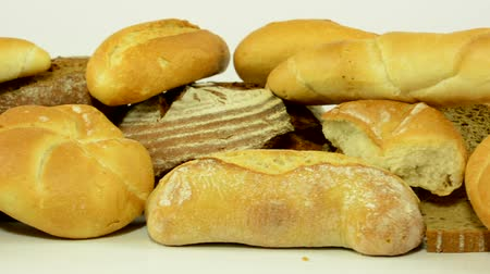 bakery : bakery products - white background studio Stock Footage