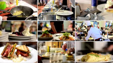 gotowanie : 4K compilation montage  chefs prepare food meals in restaurant  detail of food