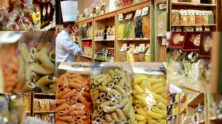 olive colored : 4K montage compilation  colourful pasta olive oil flour etc. in bags in shelf  shop