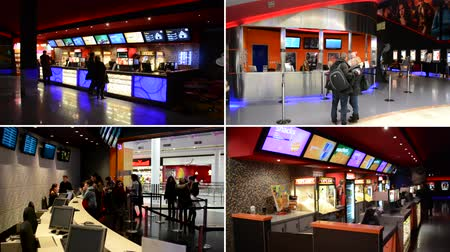 kutu : PRAGUE CZECH REPUBLIC  FEBRUARY 28 2015: 4K montage compilation  cinema box office with cashiers and customers and snack bar in the cinema with people