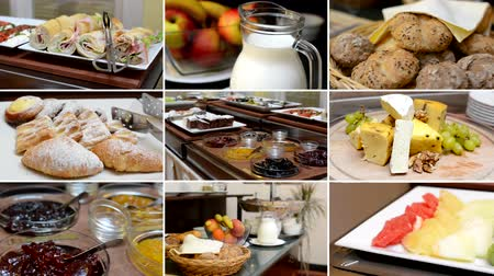 продукты : 4K montage compilation  table with food  buffet  breakfast  fruits milk cheese baker product etc.