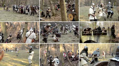 war field : PRAGUE CZECH REPUBLIC  FEBRUARY 21 2015: 4K montage compilation  medieval battle  war  soldiers walking in row and fight Stock Footage