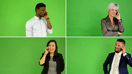 people talking : 4K compilation (montage) - people phone with smartphone (caucasian woman and man, asian woman, black man) - green screen studio Stock Footage