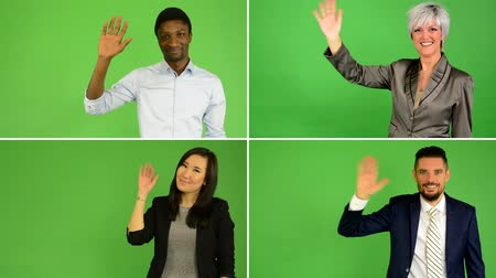 torcendo : 4K compilation (montage) - people wave with hand (caucasian woman and man, asian woman, black man) - green screen studio Stock Footage