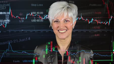 látomás : business middle aged woman smiles  financial market exchange  graph