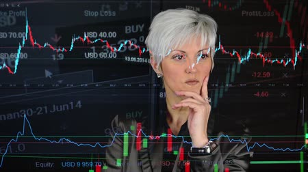 gerente : business middle aged woman thinking  financial market exchange  graph Vídeos