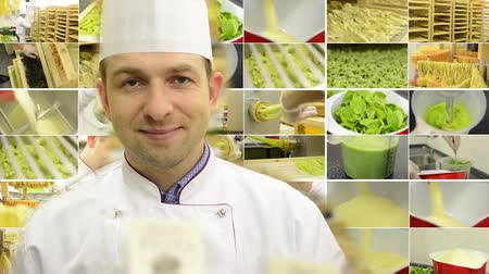 entire : chef smiles to camera  montage compilation  production of pasta professional  entire process