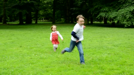 застежка : children siblings - boy and girl playing in the park - siblings embrace and running away - park Стоковые видеозаписи