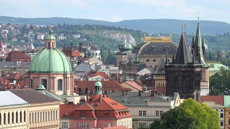 prague bridge : Prague - bridges and roofs of buildings - nature - panorama Stock Footage