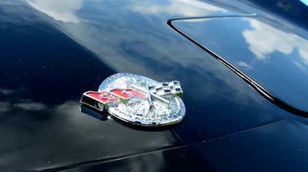 loga : PRAGUE, CZECH REPUBLIC - JUNE 20, 2015: The old vintage American car - detail of the logo Corvette Anniversary in 1953
