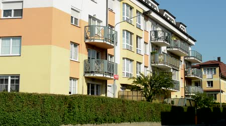bloklar : CZECH REPUBLIC, PRAGUE - JULY 2, 2015: The view of the modern prefab house with balcony in the city - close up