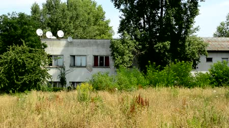 vacant : deserted house in the countryside - around high grass and tall trees - satellites
