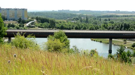 view of the large pond and above the tunnel for transport in the city - surrounded by countryside - breeze blows