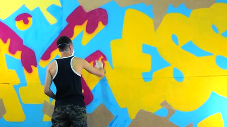 pulverização : artist painting graffiti spray paint Stock Footage