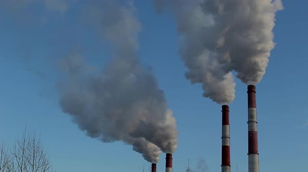 climate : coal power plant pipes Stock Footage