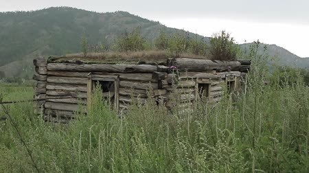 roofless : old abandoned house from logs