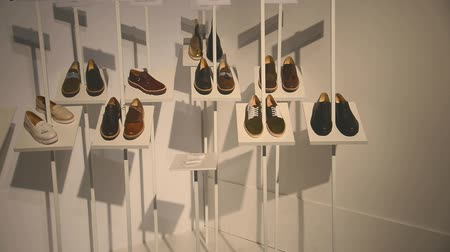 rozsáhlý : Kiev,Ukraine Mac 18,2016: Stand with an exclusive collection of shoes. An extensive collection of exclusive new footwear is represented on the stand. The camera slowly moves along the booth. fashion show