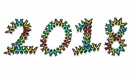 jardim : animated multicolored butterflies arrive, make up an inscription number 2018 Vídeos