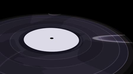 винил : vinyl record spinning on a black background, close-up