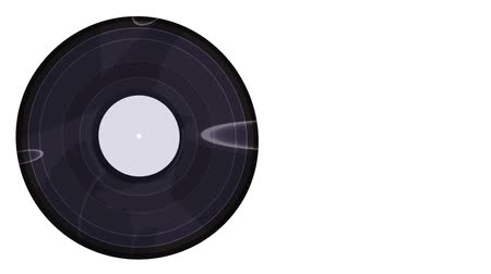 gramophone : vinyl record spinning on a white background close-up Stock Footage