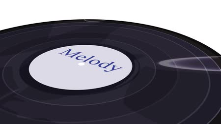 ouvir : vinyl record spinning on a white background close-up Stock Footage