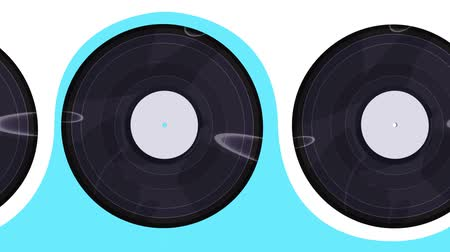 gramophone : Vinyl records flip horizontally to the right, seamlessly