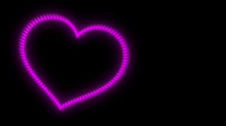 pulsating heart, pink neon light on a black background