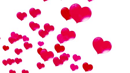 red hearts in the bubbles, fly up, on a white background