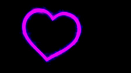 pulsating heart swinging a pendulum, pink neon light on a black background