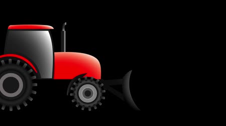 a red tractor with a blade is driving to the right, animation illustration Стоковые видеозаписи