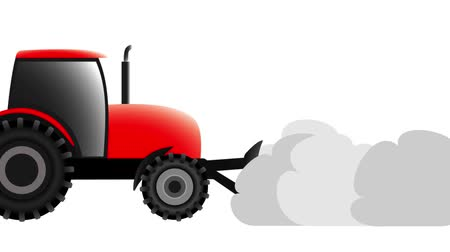atenção : red tractor removes snow on a white background, animation illustration