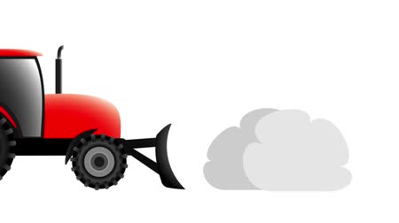 snow removal : red tractor removes snow on a white background, animation illustration