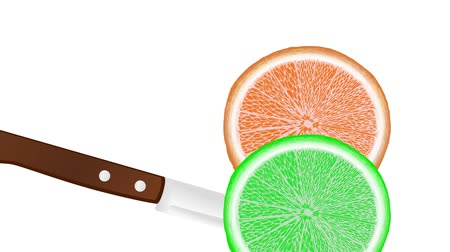 slicing a orange and lime with a knife, slice falls down