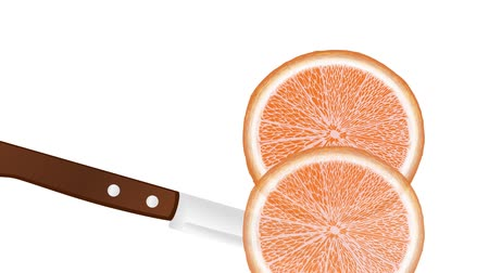 slicing a orange with a knife, slice falls down Стоковые видеозаписи