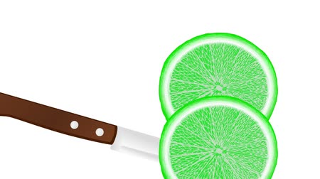 slicing a lime with a knife, slice falls down