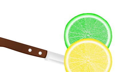 slicing a lemon and lime with a knife, slice falls down