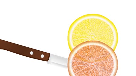 slicing a lemon and orange with a knife, slice falls down