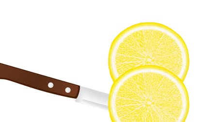 slicing a lemon with a knife, slice falls down Стоковые видеозаписи