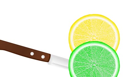 calcário : slicing a lemon and lime with a knife, slice falls down