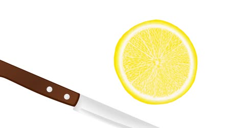 houthakken : slicing a lemon, lime and orange with a knife, slice falls down