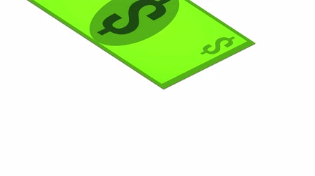 dollar bill falls on a white background, isometric, isolate