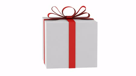 fitas : gift box with red ribbon and bow loop rotate white background Vídeos