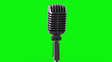 mikrofon : vintage microphone loop rotate on green chromakey background
